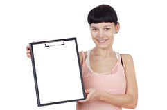 Girl with clipboard Royalty Free Stock Photography