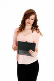 Girl with clipboard royalty free stock images