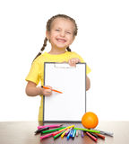 Girl with clipboard and felt pen Stock Photography