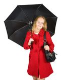 Girl in cloak with umbrella Royalty Free Stock Images