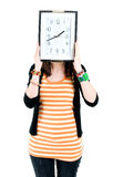 Girl with clock Royalty Free Stock Photo