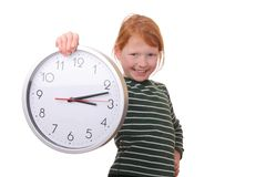 Girl with a clock Stock Photography