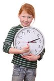 Girl with a clock Royalty Free Stock Image