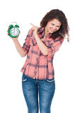Girl with clock Stock Photography