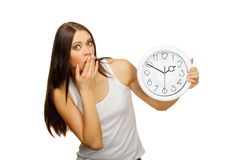 The girl with clock becomes surprised Royalty Free Stock Photo