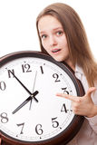 The girl with the clock Royalty Free Stock Photography