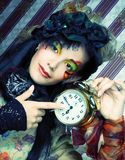 Girl with clock. Royalty Free Stock Photo