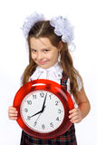 A girl and a clock Stock Photo