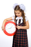 A girl and a clock Royalty Free Stock Photo