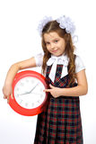 A girl and a clock Royalty Free Stock Image