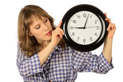 Girl with clock Royalty Free Stock Image