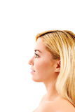 The girl close up with a beautiful profile face. Royalty Free Stock Photo