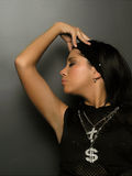 Girl With Closed Eyes. Glamour Black Girl With Closed Eyes, Cross, Dollar, Symbols stock photo