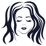 Girl with closed eyes. Beautiful women abstract portrait with closed eyes and long hair, vector illustration in dark blue color isolated on the white background stock illustration