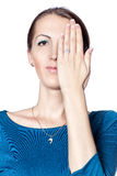 The girl closed her eyes hand. Royalty Free Stock Photo