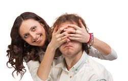 Eyes closed hands Royalty Free Stock Images