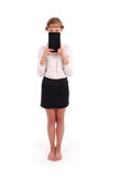 Girl closes the half face tablet pc Royalty Free Stock Photo