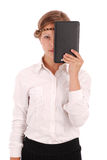 Girl closes half tablet pc face Royalty Free Stock Photo