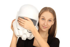 Girl closes helmet Royalty Free Stock Photos