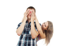 Girl closes her eyes guy Stock Photo