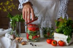 The girl closes the jar with pickled cucumbers Stock Photography