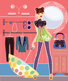 Girl in the closet room Royalty Free Stock Image
