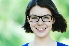 Girl closeups glasses Stock Image