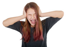 Girl closing her ears and screaming Stock Photos