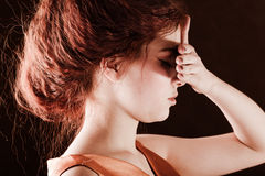 Girl Closing Her Eyes With Hand Stock Photography