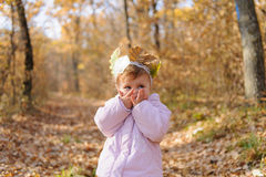 Girl Closing Her Mouth Stock Photo