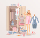 Girl with clothes closet Stock Image