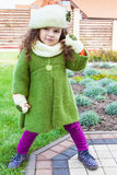 Girl in clothes hand knitted Stock Photos