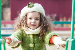 Girl in clothes hand knitted Stock Images