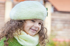 Girl in clothes hand knitted Stock Image