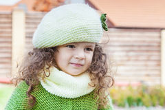 Girl in clothes hand knitted Royalty Free Stock Images