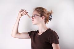 Girl with Clothespin Stock Photos