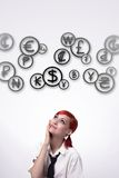 Girl and cloud coins royalty free stock photography