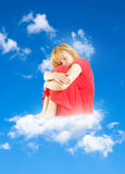 Girl on cloud Stock Photography