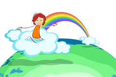 Girl on cloud with rainbow Royalty Free Stock Images
