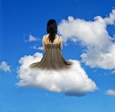 Girl on cloud Royalty Free Stock Photography