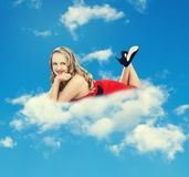 Girl on cloud Royalty Free Stock Photo
