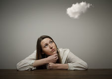 Girl and cloud Royalty Free Stock Image