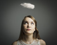 Girl and cloud Royalty Free Stock Photo