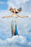 The girl is in the clouds Royalty Free Stock Photography
