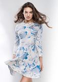 Girl in cloudy dress Stock Photos