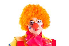 Girl clown in colorful costume Royalty Free Stock Photography