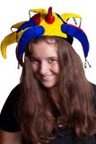 Girl in clown hat Royalty Free Stock Photo