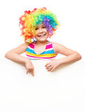 Girl in clown is holding blank banner Stock Photos
