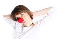 Girl with clown Nose Stock Images