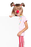 Girl with clown nose and blank Stock Images